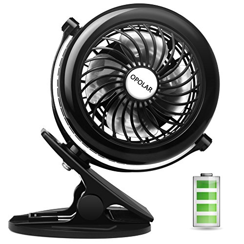 Wind Speed Fan (OPOLAR Battery Clip on Fan, Powered by USB or 2200mAh Rechargeable Battery, 360 Adjustable Wind, Personal Clip or Desk Fan with 3 Speeds, Multi Versatile for Office, Car, Baby Stroller and Outdoor)