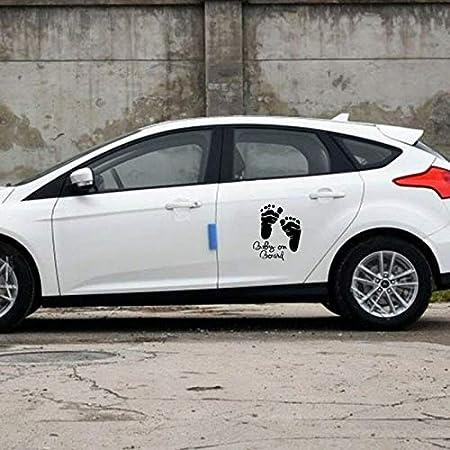 Romsion Accesorios de Vehiculos Huella de Moda Impermeable Beb/é a Bordo Pegatinas de Auto Vinilo Pegatinas de Auto talladas Black