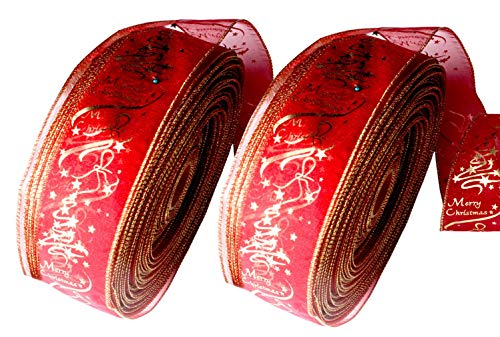 Jelord 2 Packs Christmas Wide Ribbons Gloden Brim Merry Christmas Gift Wrapping Ribbons Xmas Theme Festival Greeting Holiday Decorations (200 6.5CM)