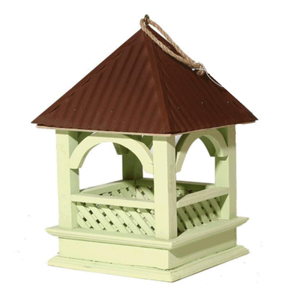 B Natural Pine Anti-UV UV Paint Bird Feeder Natural Ecological Science Outdoor Anti-corrosion Bird Food Box (color   B)