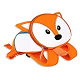 ZobiDobi 3D Zoo Toddler Backpack with Safety Harness for Baby Boy & Girl, Kids Preschool Bag Animal Backpack Snack Nursery Bag (Fox)