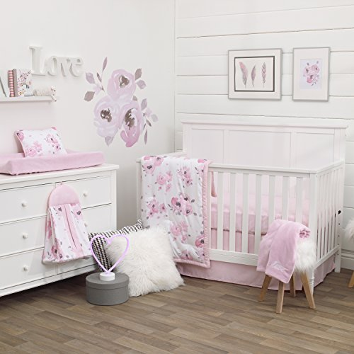 NoJo Dreamer Watercolor Floral 8 Piece Nursery Crib Bedding Set, Rose/Pink/White ()