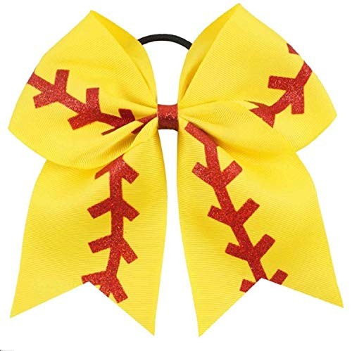 (Kenz Laurenz Softball Bow Gifts - for Girls Team Yellow Red Stitching Ribbon to Match Bag Socks Pants Cheer Ponytail Holder Cheerleading Hair Bow Blanks to Custom (Softball Bow 1))