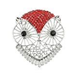janome gem - Winter's Secret Diamond Accented Hollow out the Owl Pattern Crystal Animal Red Brooch Pin