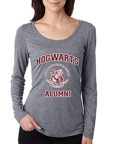Hogwarts Alumni | Harry Potter | Womens Pop Culture Scoop Long Sleeve Top Graphic Shirt, Premium Heather, Medium (Tee Alumni)