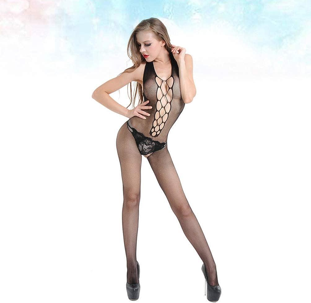KESYOO 1 par de Lencer/ía de Bodystocking para Mujer Body de Rejilla Ropa de Dormir Cosplay Club Party Babydoll Lencer/ía de Una Pieza
