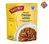 Tasty Bite Indian Entree Madras Lentils 10 Ounce (Pack of 6), Fully Cooked Indian Entrée with Lentils Red Beans & Spices in a Creamy Tomato Sauce, Microwaveable, Ready to Eat - 2 Pack
