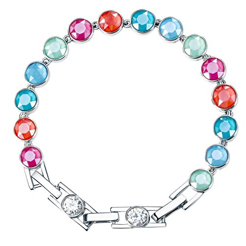 """Price comparison product image Adan Banfi """"Fairy Rainbow"""" Adjustable Colorful Beads Tennis Bracelets Wedding Jewelry Made with Austrian Crystals for Girls Women, 7.4"""""""