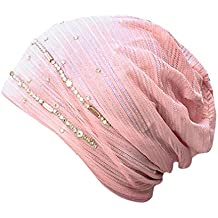 Hunputa Womens Hat Winter, Womens Rhinestone Trendy Warm Oversized Chunky Soft Cable Knit Slouchy Beanie