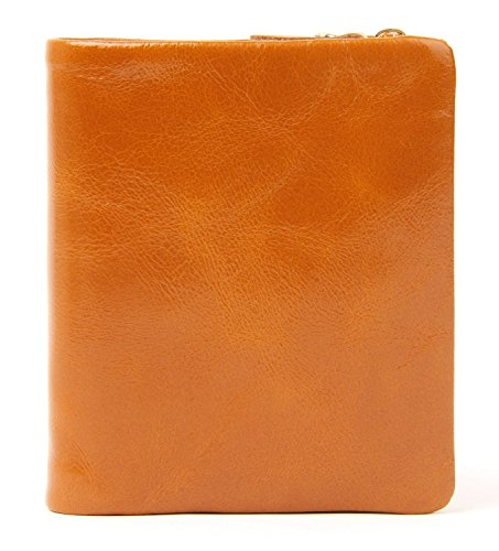 AINIMOER Womens Mini Compact Genuine Leather Trifold Small Wallet with Zipper Pocket