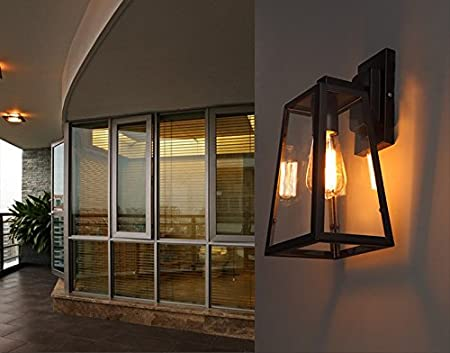 Luces de pared vintage industrial luces jardín viento paso bar vidrio hierro forjado exterior lámpara de pared,Negro + bombilla de 40 vatios: Amazon.es: Hogar