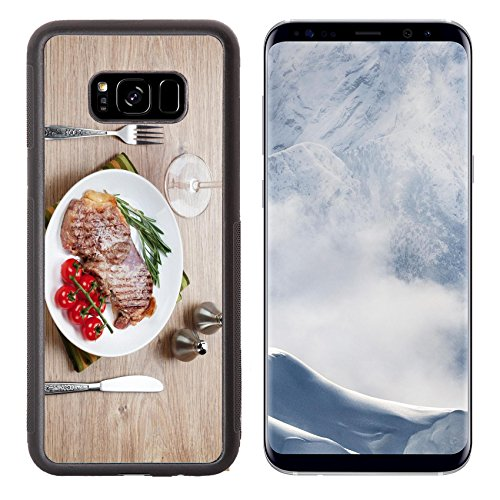 Luxlady Samsung Galaxy S8 Plus S8+ Aluminum Backplate Bumper Snap Case IMAGE ID: 25909387 Sirloin steak with rosemary and cherry tomatoes on a plate with wine View from above ()