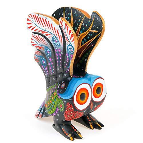 - Black OWL in Flight Handcrafted Oaxacan Alebrije Wood Carving Mexican Folk Art Sculpture Painting