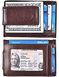 Mens Money Clip Wallet RFID Slim Wallet Genuine Leather Thin Front Pocket Wallet