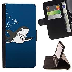 Momo Phone Case / Flip Funda de Cuero Case Cover - Dientes Dibujo Tiburón Ballena orca linda de la historieta - Sony Xperia Z5 5.2 Inch (Not for Z5 Premium 5.5 Inch)