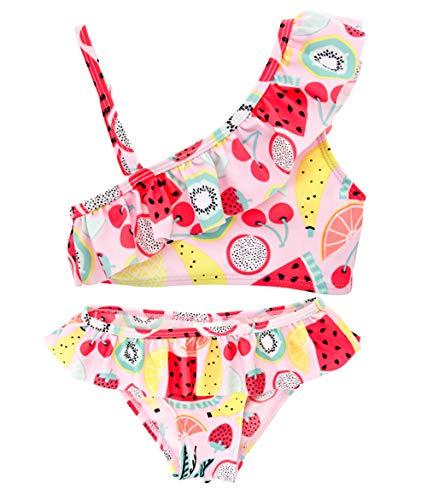 kavkas Toddler Baby Girl Cute Beach Bathing Suits Infant Rash Guard Swimsuits Bikini Sets, Ruffles Collar 4T (4t Bikini Swimsuit)