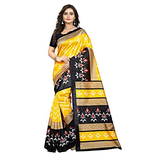 Jaanvi fashion Women's Art Silk Ikkat Patola Print Saree (Yellow) (Saree Print)
