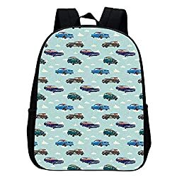 Cars Multifunction School Bag,Absurd Design with Vintage Cars in the Air with Clouds Old Vehicles Pattern for Boys And Girls,9L×4W×11H
