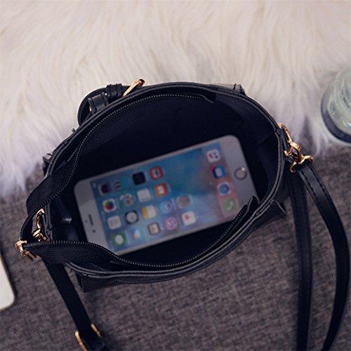 Bag Handbag Shoulder Black Messenger Vintage Purse Softmusic Women Hvf4I