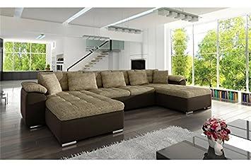 22444326c66a9 Chloe Design Canapé panoramique Convertible PU Tissu CLEA - Réversible -  Beige et Chocolat