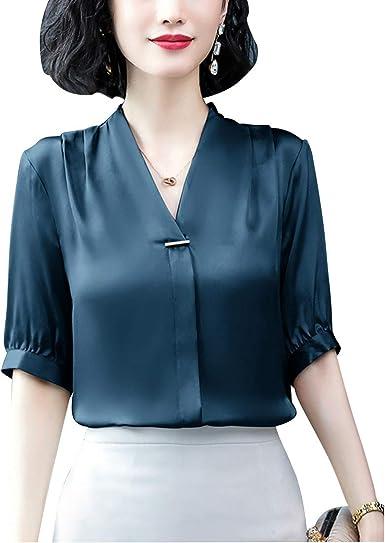 Omoone blusa de seda satinada de media manga para mujer ...