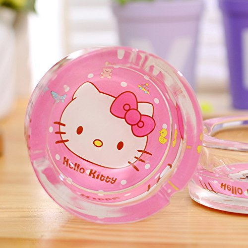 YOURNELO Woman's HelloKitty Glass Round Car Cigarette Ashtray Holder for Home