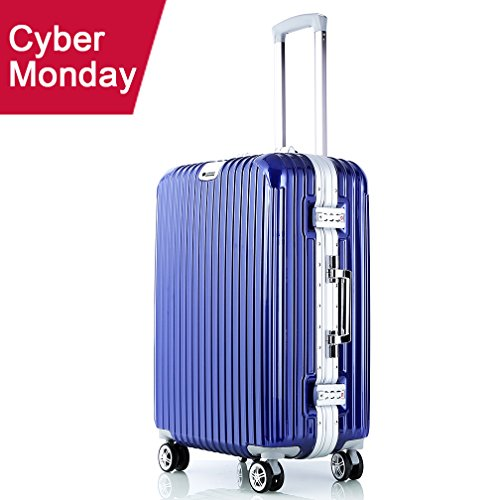 Carry On Luggage Travel Suitcase Hardshell Spinner Hardshell Lightweight (Blue) by VeMee