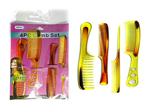 4PC Assorted Combs Set Size: 8.5'' Long , Case of 144 by DollarItemDirect