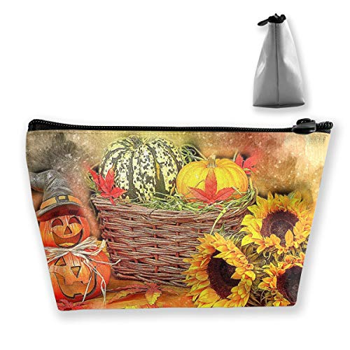 Tiffany N WhitneyRG Women's Travel Makeup Bag Autumn Halloween Harvest Pumpkin Cosmetic Pouch Multi-Functional Trapezoidal Storage Bag Toiletries Organizer Bag