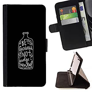 Momo Phone Case / Flip Funda de Cuero Case Cover - Alcohol texto minimalista Negro - Sony Xperia Z3 Compact