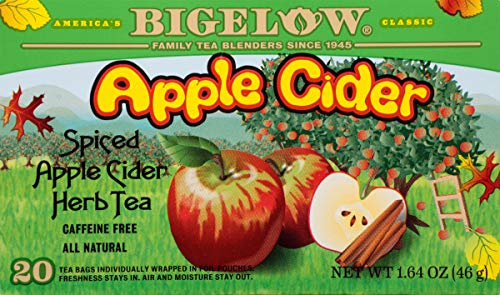 Bigelow Apple Cider Herbal Tea 20-Count Boxes (Pack of 6) Caffeine-Free Individual Herbal Tisane Bags, for Hot Tea or Iced Tea, Drink Plain or Sweetened with Honey or Sugar ()