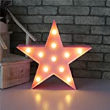 XIYUNTE Star Shape Night Lights - LED Pink Star Wall Light 3D Cute Children's Night Lights Warm White Marquee Lights Battery Operated Bedside and Table Lamps Home Decoration for Living Room,Christmas,Party,Girls Bedroom