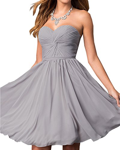Olivia's Knotted Sweetheart Lace up Short Grey Bridesmaid Dresses Cheap