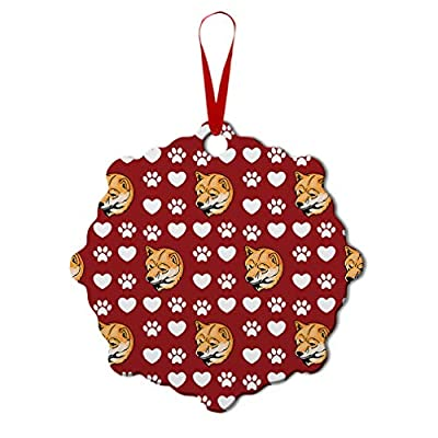 Style-In-Print-Custom-Holiday-Christmas-Ornament-Shiba-Inu-Dog-Red-Paw-Heart-Aluminum