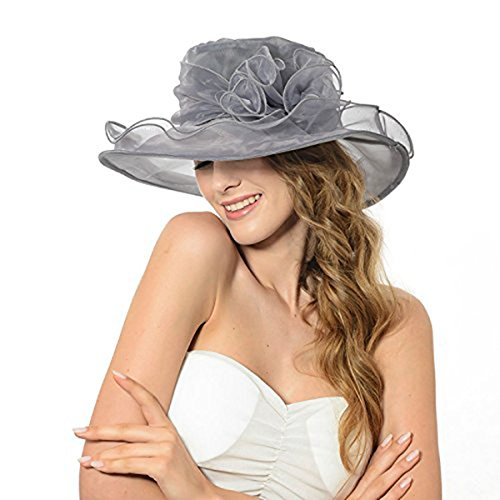 ICSTH Womens Kentucky Derby Summer Wide Brim Organza Church Party Hats Grey by ICSTH