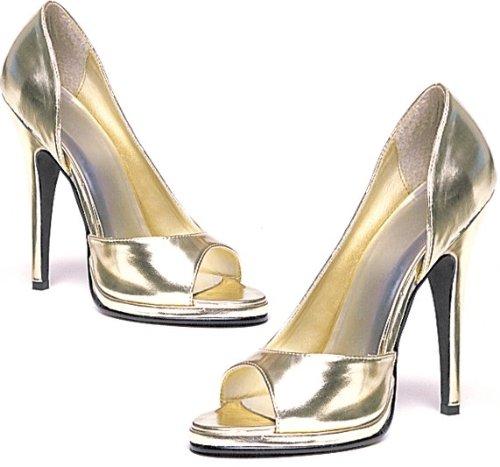 Ellie Shoes Women's 5 Inch Heel Open Toe Pump (Gold;6)