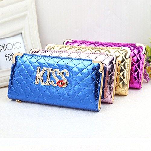 Soft Blue Lady Main Shinning rabbit Sac Wallet Diamond Zipper Imbue à Color Red Pochette Longue Lovely xEnp6
