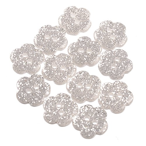 Polyester Button - Daisy Shape - 2 Hole - Silver Glitter- 24 -