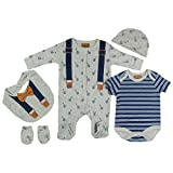 Baby-Boys Gey/Navy Bow Tie Presents Gifts for Newborn Baby Boys Toddler Unisex Cute Clothing Sets Sleepsuit Vest Bib Hat Outfits Bundles Pack