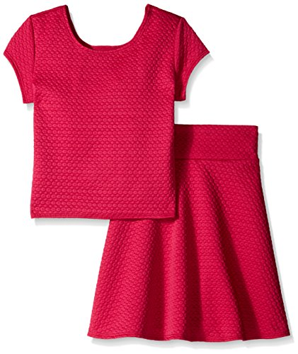 Derek Heart Big Girls Short Sleeve Textured Top and Skater Skirt, Fuchsia Quilt, (Quilt Skirt)