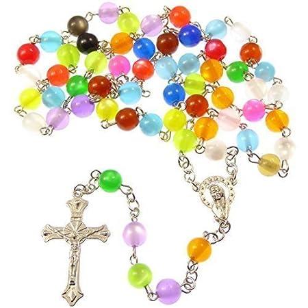 Catholic Rainbow Round Multi Coloured Rosary Beads Long