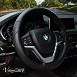 Valleycomfy Microfiber Leather Steering Wheel Covers Universal 15 inch (Black)