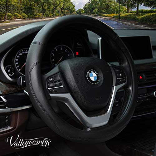 (Valleycomfy Microfiber Leather Steering Wheel Covers Universal 15 inch (Black))