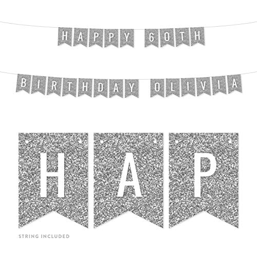 Andaz Press Personalized Faux Silver Glitter Party Banner