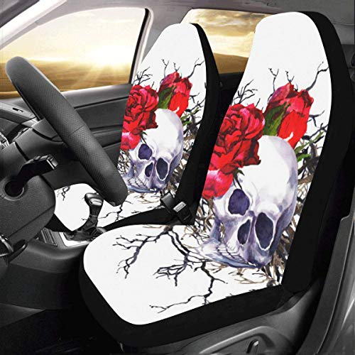 InterestPrint AnnHomeArt Skull Flower Car Seat Covers Auto Seat Cushion(Set of 2)