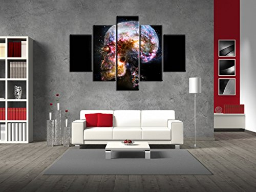 Universe Painting on Canvas Skull Face Design Skeleton Wall Art Halloween Face decoration,Day of The Dead Pictures Abstract Artwork Framed for Living Room 5 Panel Stretched Ready to Hang(60''Wx32''H) -