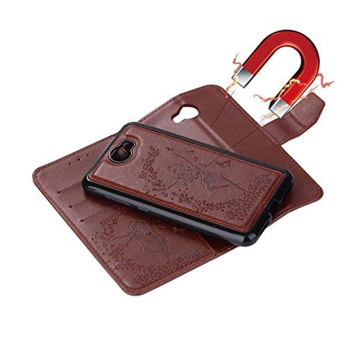 Crazy amp; Huawei avec cuir Stand Housse relief Pattern Horse Color pour 1 en Slots PU Girl 2ème Génération Y5 2 II en Fairy Lanyard Card Cash en Décochable Housse Brown Red Flip Texture qURt4wZ