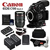 Canon EOS C100 Mark II with Dual Pixel CMOS AF & EF 24-105mm f/4L IS II USM Zoom Lens Kit International Version (No Warranty)- Silver Level Bundle