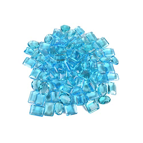 Wholesale lot of 6 Piece 500 Ct Sparkling Swiss Blue Topaz Faceted Gemstone Mix Shape Jewelry Making Loose Gemstones