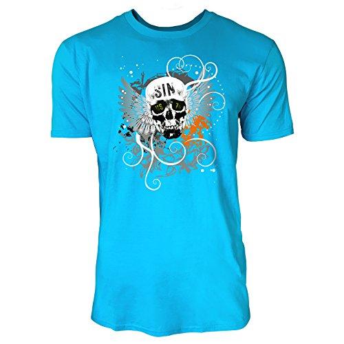 SINUS ART ® Totenkopf mit Flügeln und schwarzem Hintergrund Herren T-Shirts in Karibik blau Cooles Fun Shirt mit tollen Aufdruck